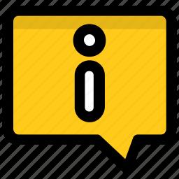 dialogue box, help, info bubble, info button, information icon