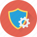protection shield, cogwheel, antivirus, cog, settings icon