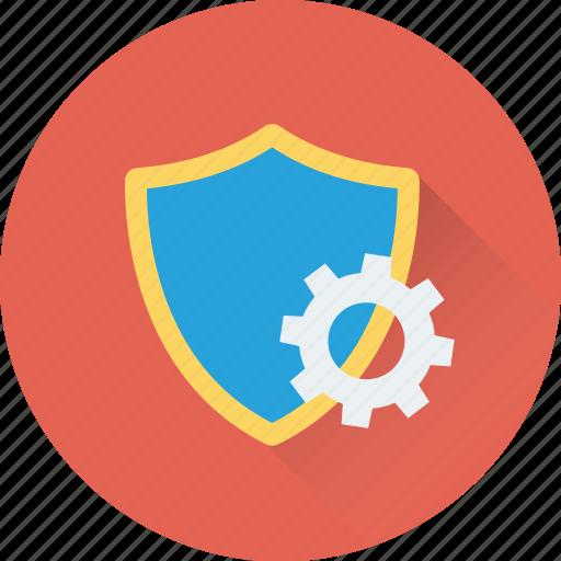 antivirus, cog, cogwheel, protection shield, settings icon