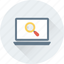 analytics, infographic, magnifier, search, search screen icon