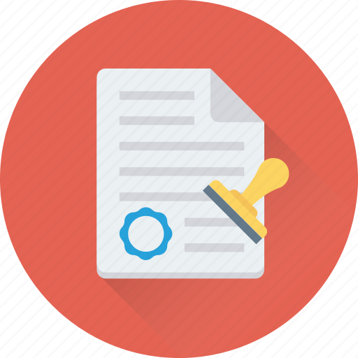 attested, authorized, contract, document, stamp icon