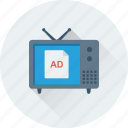tv, tv ad, vintage tv, tv set, advertisement icon