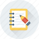 pencil, memo, writing pad, notepad, writing icon