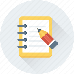 memo, notepad, pencil, writing, writing pad icon