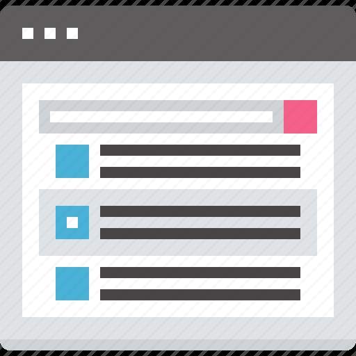 find, list, marketing, results, search, seo, web icon