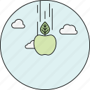 apple, clouds, education, falling apple, idea, newton, sky icon