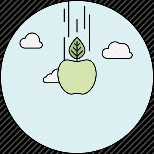 apple, clouds, education, falling apple, idea, newton, sky icon