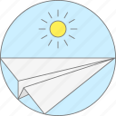 email, email marketing, paper, sun icon