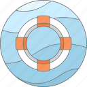 help, lifebuoy, sea, support, water icon
