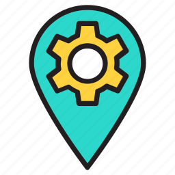gear, gps, location, map, pin, setting icon icon