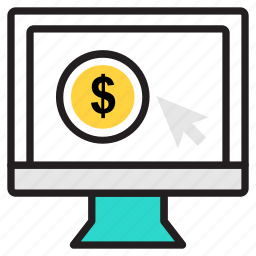 business, earn, flat design, internet, money, online, pay per click icon icon