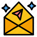 arrow, chat, mail, open icon