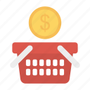 basket, cart, dollar, trolley