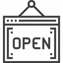 board, open, shop, sign, signboard, store, web icon