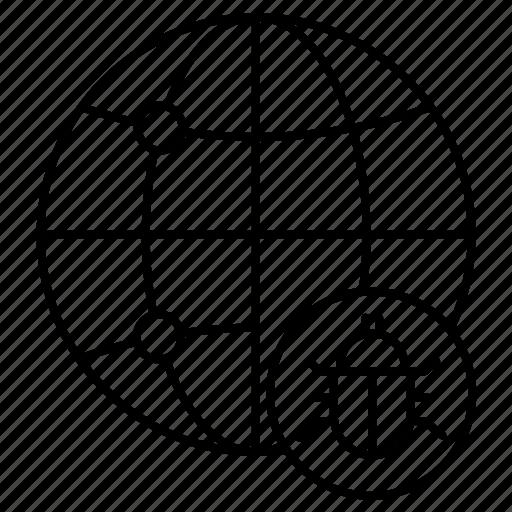 bug, globe, internet icon