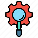 cog, gear, magnifier, magnifying, options, preferences icon