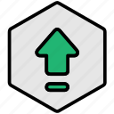 arrow, up, upload, uploading icon