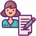 copywriter, pen, woman, writing icon