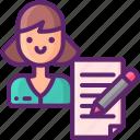 book, copywriter, woman, writting icon