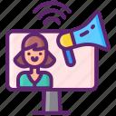 blogger, computer, influencer, marketing icon