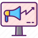 advertising, megaphone, online icon