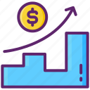 revenue, graph, dollar, growth icon