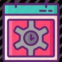 calendar, gear, management, time