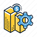 analytics, business, currency, development, finance, office, statistics icon