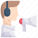 business, digital, online, promotion, service, technology, telemarketer icon
