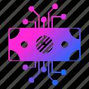 cash, circuit, data, digital, money icon