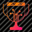 circuit, cup, data, digital, reward icon