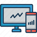 analytics, infographic, mobile graph, monitor, online graph icon