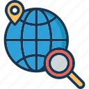 globe, magnifier, map pin, search location, seo icon