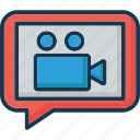 chat bubble, multimedia, multimedia message, video camera, video message icon