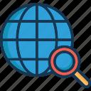find place, globe, local seo, magnifier, search location icon