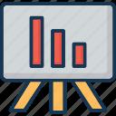 analytics, bar chart, presentation, seo graph, training icon