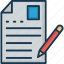 editor, paper, pencil, script writing, writing article icon