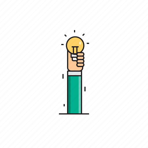 bulb, creative, hand, idea, think icon