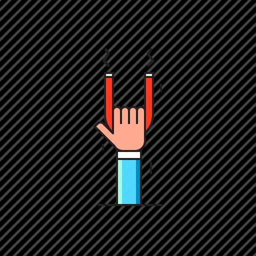 attraction, conversion, customer, hand, magnet, retention icon