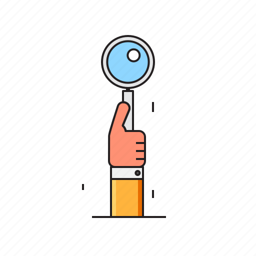 data, hand, information, magnifier, research, searching icon