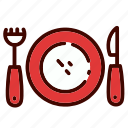 food, fork, knife, plate, restaurant, table, utensils icon