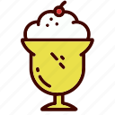 cream, dessert, dinner, food, ice, restaurant, sundae icon