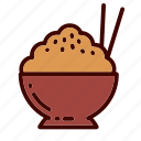 bowl, breakfast, brown, dinner, food, restaurant, rice icon