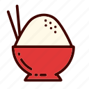 bowl, breakfast, dinner, food, restaurant, rice, white icon