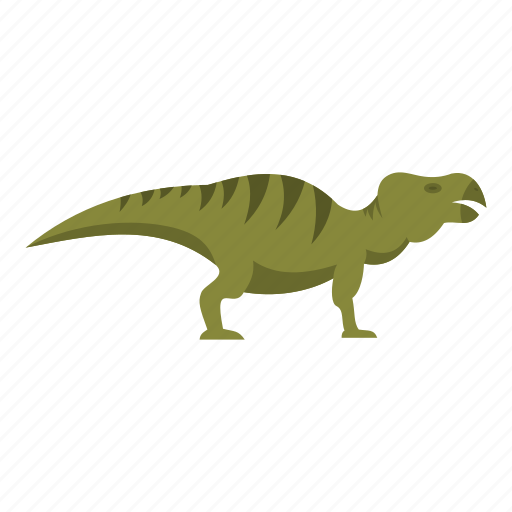 animal, dinosaur, hadrosaurid, jurassic, predator, reptile, striped icon
