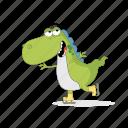 dinosaur, emoji, emoticon, ice, skater, smiley, sticker icon