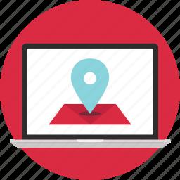 google, gps, laptop, location, map, online icon