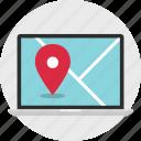 gps, laptop, location, online, pin