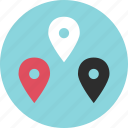 direction, gps, location, online, pins, three icon