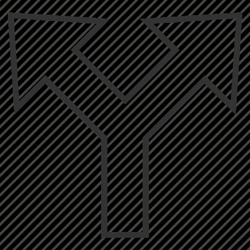 bifurcation arrow, choice, connection, divide, left right, navigation, split arrows icon